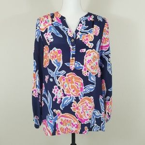 Lilly Pulitzer Silk Blouse Top Navy Floral B8